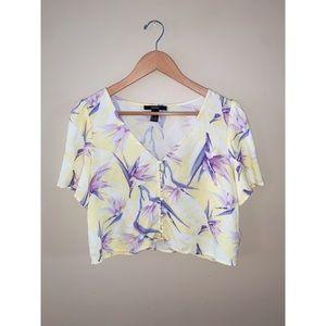 Yellow floral design shirt